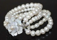 fine mix style mix size 4line freshwater pearl bracelet