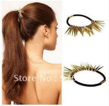 H008Free Shipping, SW2012 Fashion Punk Style Alloy Rivet Girls Lady Cool Elastic Hair Bands Headwear
