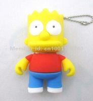 New Arrival!4GB 8GB 16GB 32GB Stylish Cartoon Simpson Son Bart Shaped U Disk USB Flash Drive Memory,FREE Shipping,2 Years WY