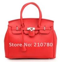 2014 New arrive Freeshipping women leather handbag vintage Lock fashion brand designer leather messenger bag Promotion!!137