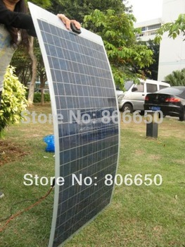 100W 12V Polycrystalline semi flexible solar panel  poly solar module pv panel free shipping