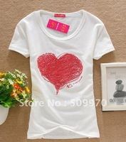 Good quality cotton t-shirt Korean Round-neck women's SHORT sleeve Red Heart T-shirt Ladies Top Wear T shirt women