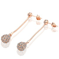 PE010 Wholesale designer 18K rose Gold Plated dimond long Stud Earrings Fashion Jewelry women brincos boucle d'oreille mujer