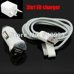 3in1 Travel Kit,EU Home Wall Charger+Car Power Charger+USB Data Sync Cable for Apple iPhone4 4G 4S 1sets/lot freeshipping ! !(China (Mainland))