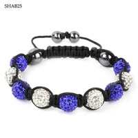 SHAB25 Romantic young lady Handmade Shamballa Bracelet  White clay balls  alternate with colorful  balls 50pcs/lot