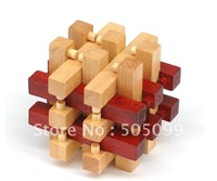 Free shipping of (red and wood color )Eighteen Dutch Matrix Wood Puzzle Wooden Brain Teaser