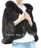 2013 New Factory Sale Natural Mink Fur Jacket Winter Wear Genuine Knitted Mink Fur Poncho