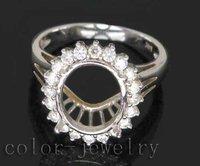 Jewelry Sets Vintage Oval 9x11mm 14Kt VS1 Full Cut Diamond Engagement Semi Mount Ring