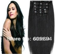 """18"""" 20"""" 22""""  1# 120g 10pcs set Indian Remy Human Hair Clip in Hair Extensions wholesale01"""
