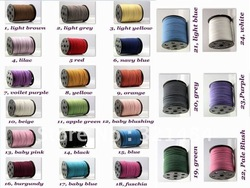 Hot sale!!!! 500yard/lot Jewelry 3mm Suede Leather Cord (please pick up color, mini order 100yard each color)(China (Mainland))