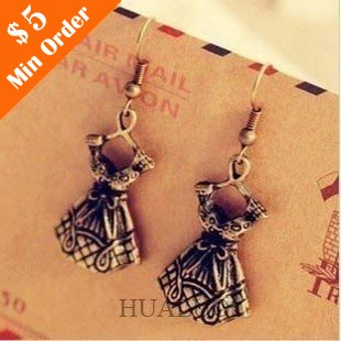 Accessories One-piece Dress Shape Vintage Earrings (Bronze) E35(China (Mainland))