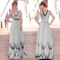 DorisQueen new arrival 30617 grey color beaded shining evening dress fashion 2013