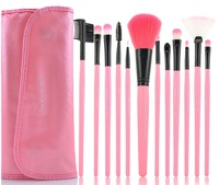 2012-HOT SALE!High Quality Professional makeup brush 12PCS  PINK FREE SHIPPING power brush+blush brush/BROW/LIP/