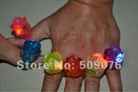 Free shipping 24pcs/lot 3*4cm 4color led ring light up ring with rose flower for wedding favors