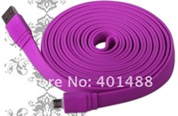 Wholesale colorful 3M 9.8FT Flat Micro USB Data Charge Sync phone Cable Lead Fits for  Samsung Galaxy S3 i9300