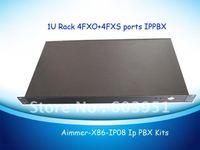 1U rack 4FXO+4FXS ports VOIP PBX Elastix system, TDM800P asterisk card included