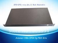 1U rack 2FXO+2FXS ports VOIP PBX Elastix system, TDM410P asterisk card included