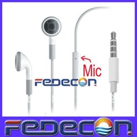 3.5mm Earphone Headphone Headset  with Mic Microphone For iPhone 5 5G 3G 3GS 4G 4S, 300pcs/lot, Free Shipping