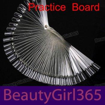 50 False Nail Art Board Tips Stick Polish Display Foldable Practice Fan Clear Free Shipping