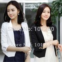 2014 high quality  80% cotton 10% silk blazer ladies spring summer  cotton blazer short design slim blazer fashion jacket  T207