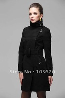 Newest Fashionable Women slim long overcoat zipper wool trench coat outerwear winter clothes outdoor jacket