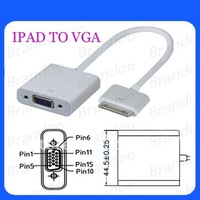 Free Shipping 5pcs/lot Dock Connector to VGA Adapter for iPad iPhone iPod touch