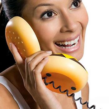 Hamburger Cheeseburger Fun Burger Cable Telephone Home Desktop Corded Phone