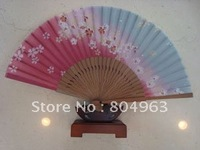 [China Confucian Arts]5pcs/lot ,free shipping ,folding hand silk fan,top quality of japanese style hand fan for best gift