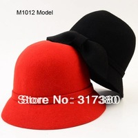 Wholesale 6pcs Mix Colors Formal Fashion Women Wool Felt Fedoras Bowler Derby Hat Cloche Bucket Hats Cute Bowknot  Ladies Fedora