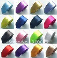 Free shipping 10 pcs Multi-Color Optional Silk Men Neck Tie Classic&Skinny Solid Color Plain Satin Tie