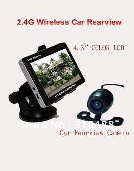 "4.3"" Wireless LCD Monitor Car Rear View Security Parking Reversing Camera System free shipping"