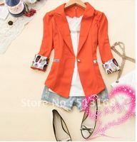 2012 summer women's blazer one button three quarter sleeve outerwear suit blazer white black orange free shipping