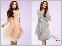 freeshipping summer women's fashion short sleeve mini dress elegant chiffon ladies' dress