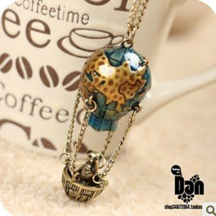 Min.order is $5 (mix order) Free Shipping Vintage Fire Balloon Chain Soar Earth Sweater Long Necklace (ON0359)(China (Mainland))