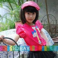 Retail new summer princess design tops korean style t shirts girls clothing baby child short sleeve T-shirt girl K0152