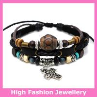 B0304 fashion real leather bracelets,hot selling high quality handmade tribal jewelry,100% cow leather charm wristband 12pcs/lot