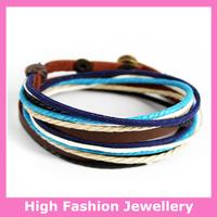 C0314 fashionable handmade wrap bracelets,free shipping genuine leather charm jewelry,hot selling multicolor wristband 12pcs/lot