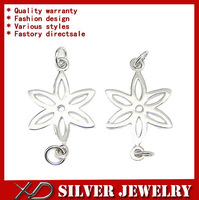 XD P299 925 sterling silver flower shape pendant bead earring connector for jewelry diy