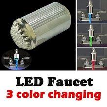 New Arrival 3 Color Glow Tap RGB Light Temperature Sensor led  lamp shower HL0291(China (Mainland))