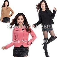 women's jacket 2014 autumn -summer winter women's elegant wool jacket short design wool coat plus size trench outerwear  T148