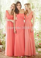 Elegant chiffon peach color bridesmaid dress