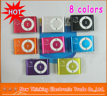 20PCS/LOT MINI Hello Kitty Clip MP3 Player + GIFT 3in 1 mp3 For Best Gift  FACTORY DIRECT 8 Colors Free Shipping