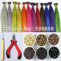 "free shipingset/120s 16"" Grizzly  feather  synthetic hair extentions+one plier and hoodle+120pcs silicone micro rings"