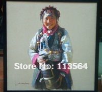 a  Tibetan girl with a pot original 100% and professional painting artist  seleted and hight quality