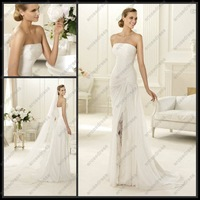PH-004 Hot Sale Sheath Strapless Front Split Sweep-train Chiffon Wedding Dress