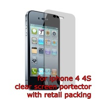 300pcs/lot wholesale Clear Screen Protector for iPhone 4 4S with retail box, free shipping