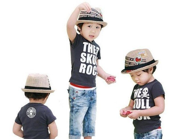 New Baby CHILDREN BOY KID straw Brim Hat Cap SUNHAT BEACH shade straw hat Toddler Dress Up(China (Mainland))