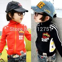 2014 New Boy Hoodies Children Jackets Autumn Handsome Boys kids Clothing Baby Outerwear  Orange Black