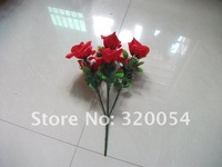 Free shipping, hot 7 Simulation of red roses, 30 cm high artificial silk flowers, wedding decoration