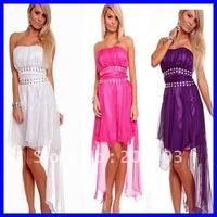 Free shipping Sexy Satin Bandeau Long Dress Chiffon Rhinestone Women sexy clubwear Evening dress 2012 Wholesale 12pcs/lot  6116